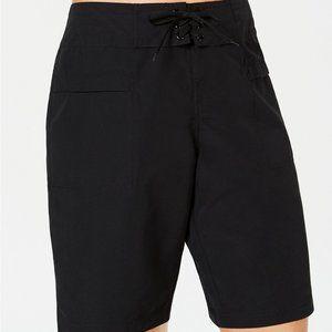 Island Escape's sporty board shorts black swim